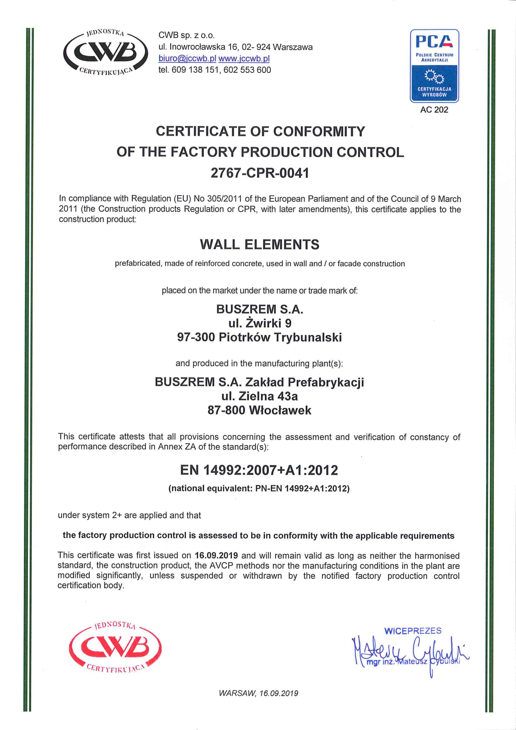 Buszrem SA - certyfikaty